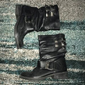 Matisse Arion black leather mid-calf moto boots